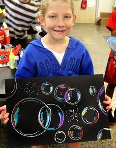 bubbles !  Also a great collaborative project.   oil pastels, chalk pastels.  Vielleicht auch als Gruppenbild am Anfang des Schuljahrs