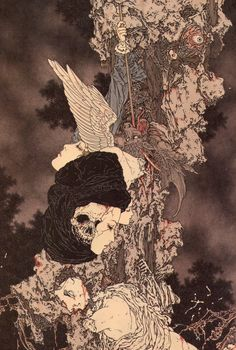 Illustration by Takato Yamamoto Art Inspo, Kunst Inspo, Japanese Illustration, Art Et Illustration, Arte Horror, Horror Art, Yamamoto, Fantasy Kunst, Fantasy Art