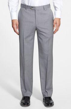 Men's Pal Zileri Flat Front Classic Fit Plaid Solid Trousers