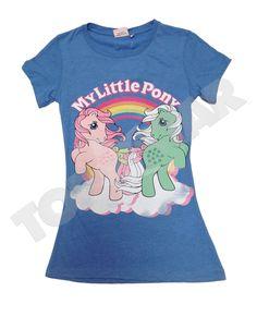 Ladies Licensed MY Little Pony Retro Slim FIT Blue 80s T Shirt TEE TOP NEW | eBay
