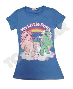 Ladies Licensed MY Little Pony Retro Slim FIT Blue 80s T Shirt TEE TOP NEW | eBay