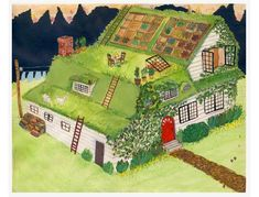 ROBIN LAUREL: a green roof! A green roof, or 'living roof' really helps regulate the temperature of a house or building, keeping it cooler in the summer and warmer in the winter. Natural Building, Green Building, Green Roof Benefits, Living Roofs, Living Walls, Earth Homes, Flat Roof, Future House, Sustainability