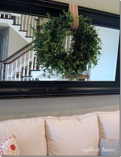 wreath over mirror wreath over mirror. Behind Couch, Above Couch, Living Room Mirrors, Living Room Decor, Bedroom Decor, Wall Decor, Wall Art, Farmhouse Mirrors, Farmhouse Decor