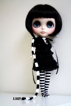 custom blythe doll, black and white