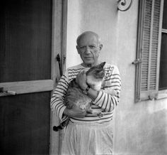 kocilapki: Pablo Picasso with a cat