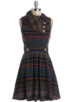 Coach Tour Dress in Fair Isle - Short, Multi, Print, Buttons, Pockets, Casual, A-line, Winter, Variation, Holiday