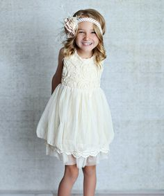 Cream Rosette A-Line Dress - Infant, Toddler & Girls by Lollies and Lace Boutique #zulily #zulilyfinds