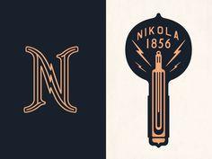 Masculine and retro Branding, light, bulb in Hospitallity