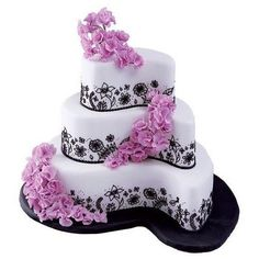 Wedding, Flowers, Cake, Pink, White, Black, Paisley, Absolutely cakes