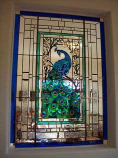 Blue peacock beveled and stained panel.jpg provided by Visions In Glass Grass Valley 95949