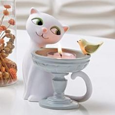 white kitty cat tealight #candle holder by #PartyLite