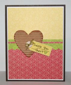 Thank you card with corragated heart
