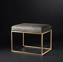 RH Modern Alton Leather Stool | Shared by Fireman's Finds