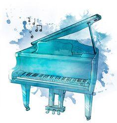 Watercolor piano by Fishmas