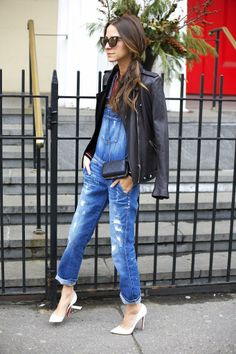 Dress up your favorite #denim overalls with heels and a sexy leather jacket! #style #GUESS