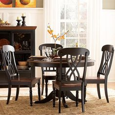 @Overstock - The design of this dining set from Mackenzie captures the essence of a casual country home showcasing an antique black and warm cherry finish. A distressed treatment on the furniture combines new designs with a vintage look.http://www.overstock.com/Home-Garden/Mackenzie-5-piece-Country-Style-Black-Dining-Set/5171762/product.html?CID=214117