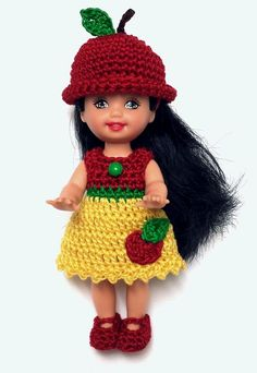 Barbie Kelly Clothes Apple Doll Dress Shoes Panties Hat Crochet Handmade New | eBay
