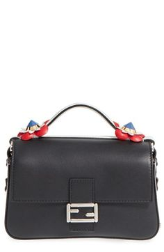 FENDI 'Double Micro' Leather Baguette. #fendi #bags #shoulder bags #hand bags #leather #crossbody