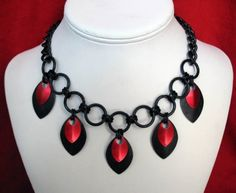 Goth Queen Chainmaille Necklace - Love the red scale accents on the black!
