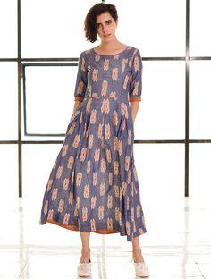 Buy Blue Orange Box Pleated Handloom Ikat Cotton Dress Apparel Tops & Dresses Online at Jaypore.com