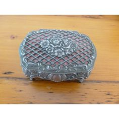 Vintage Silver Plate Rose Lattice Trinket Box, Signed 1940s Trinket... (22 CAD) ❤ liked on Polyvore featuring home, home decor, rose home decor, crown trinket box, red home decor, silver plated trinket box and vintage home decor