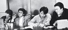 1989年在紐約的中美詩人對話會議上,由左至右為詩人江河、貝嶺、嚴力及譯者艾未未。 (圖/嚴力提供)