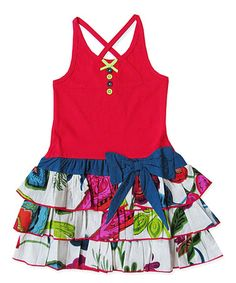 Love this Red & Blue Floral Bow Ruffle Dress - Toddler & Girls on #zulily! #zulilyfinds