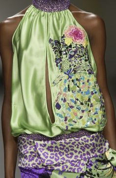 Iceberg by Trillado Green Silk, Green And Purple, Fashion Themes, Fashion Ideas, Mixing Prints, Dress Me Up, Beautiful Outfits, Beautiful Clothes, Casual Chic