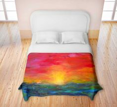 Artistic Duvet Covers by DiaNoche Designs, King, Queen, Twin, Toddler, Home Decor, Bedding, Children, Adult, Rainbow Sunset