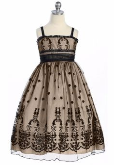 Champagne Girls Holiday Dress w. French Tulle Overlay & Floral Embroidery