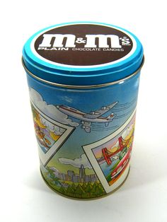 Vintage tin, M's candy collectible. $7.50, via Etsy.