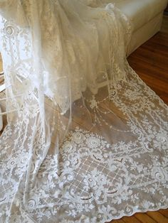 """c.1900 ~ 160"""" Long Tambour Lace Curtain with Ornate Scrollwork ,Trellis Design, Flowers & Large Three-dimensional Roses ...."""