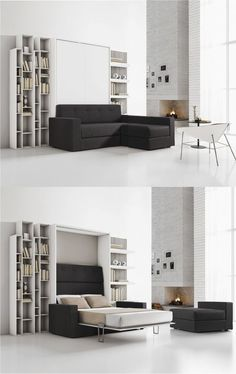 Decorate your room in a new style with murphy bed plans Cama Murphy, Murphy Bed Ikea, Murphy Bed Plans, Space Saving Bedroom, Space Saving Furniture, Furniture Ideas, Small Apartments, Small Spaces, Studio Apartment Layout