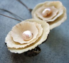 Sea Treasure Collection-Shell and Pearl Rose Earrings -- Star of the East