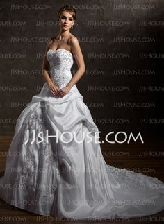 Wedding Dresses - $148.89 - A-Line/Princess Sweetheart Chapel Train Taffeta Wedding Dresses With Embroidery Ruffle Beadwork (002012669) http://jjshouse.com/A-Line-Princess-Sweetheart-Chapel-Train-Taffeta-Wedding-Dresses-With-Embroidery-Ruffle-Beadwork-002012669-g12669