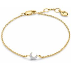 Missoma 18Ct Gold Vermeil Cosmic Pave Moon Bracelet ($87) ❤ liked on Polyvore featuring jewelry, bracelets, cosmic jewelry, missoma, vermeil jewelry, gold vermeil jewelry and galaxy jewelry