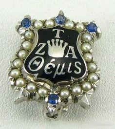 1953 Zeta Tau Alpha, 4 Sapphires, 20 Pearls, White Gold