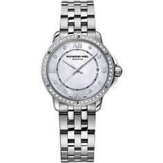 Raymond Weil Ladies  Stainless Steel Tango Watch with... ($1,850) ❤ liked on Polyvore featuring jewelry, watches, silver, diamond bezel watches, stainless steel jewellery, stainless steel watches, water resistant watches and raymond weil watches