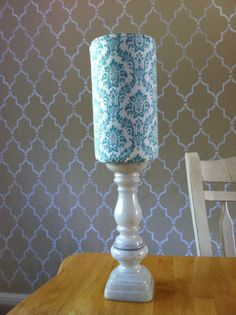 headband holder (oatmeal container + painted candle stick)