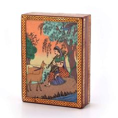 Little India Gemstone Meera Painting Wooden Jewellery Box Brown) Wooden Jewelry Boxes, Wooden Boxes, Corporate Gifts, Wood Colors, Beautiful Paintings, Handicraft, Vintage World Maps, Gifts For Her, Decorative Boxes