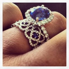 My custom sapphire engagement ring and wedding band!