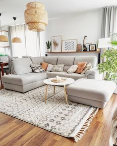 Living Room Designs Home Interior Design 4 - elliahome Colourful Living Room, Boho Living Room, Cozy Living Rooms, Apartment Living, Living Room Decor, Living Room Ideas House, Natural Living Rooms, Living Room With Carpet, Gray Couch Living Room
