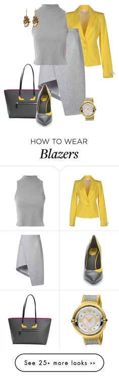 """Style It in Grey & Yellow"" by eva-kouliaridou on Polyvore featuring Patrizia Pepe, Thierry Mugler, Glamorous, Fendi, Alor and Ruth Tomlinson"
