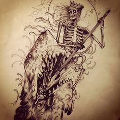 Skeleton king against vicious shark fucker
