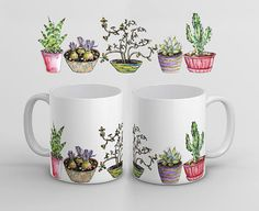 Pottery Painting, Ceramic Painting, Pottery Art, Dandelion Coffee, Cactus, Sublimation Mugs, Painted Mugs, Flower Tea, Coffee Gifts