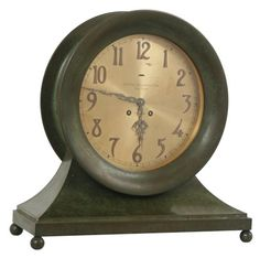 Hard-to-find Chelsea ships clock with a 10-inch dial and rare, patinated Verde brass case.