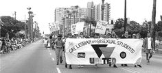 It's gay pride in Long Beach this weekend. This is me walking in the parade in 1994. I'm over the UAL in bisexual.