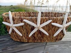 Beach Decor Starfish Seagrass Basket by PinkPelicanDesigns on Etsy, $36.00
