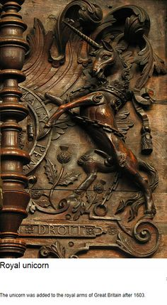 """Carved unicorn - """"The unicorn was added to the royal arms of Great Britain after…"""
