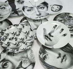 PIERO FORNASETTI - I would love to have a few of these plates to hang in my kitchen